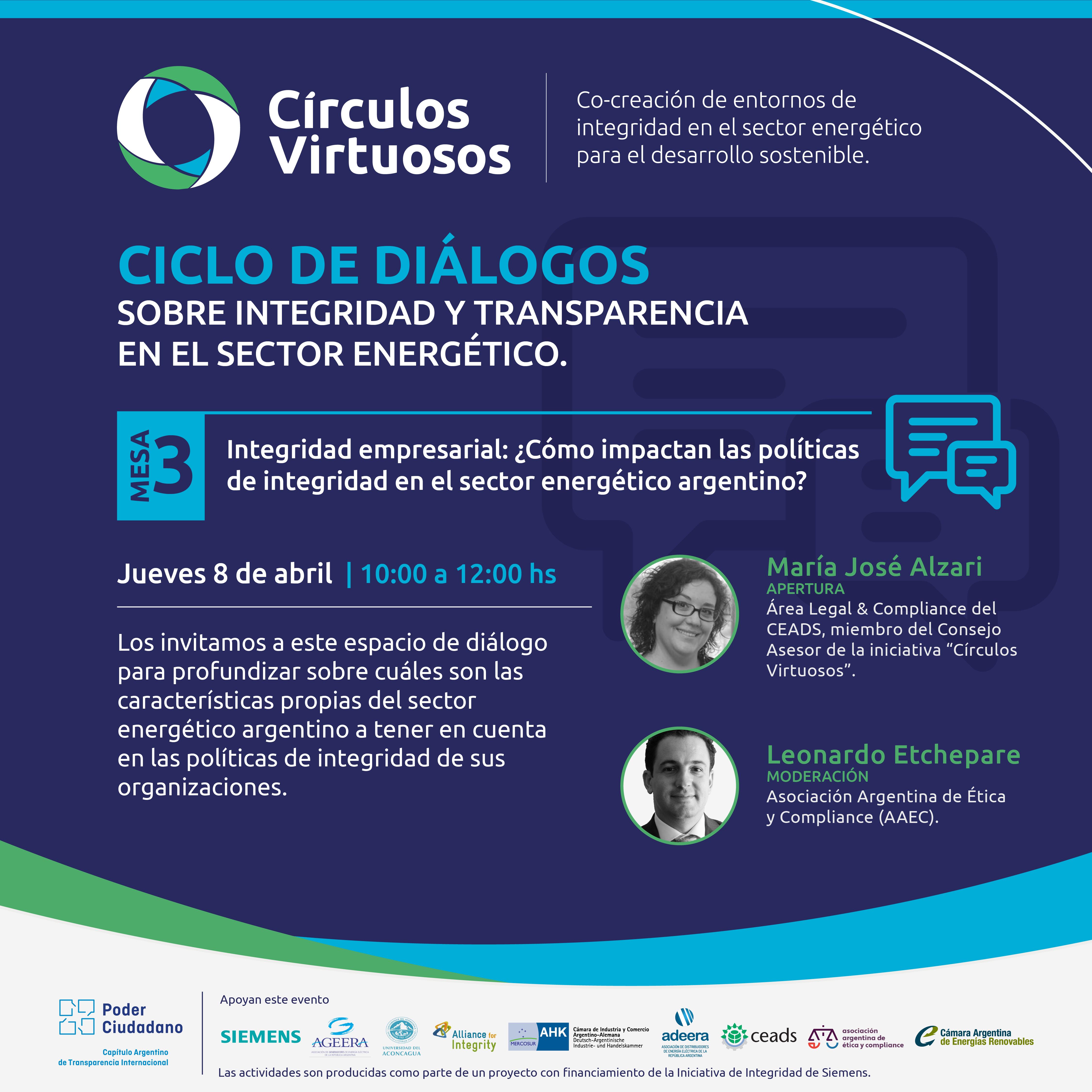Ciclos de diálogo sobre integridad y transparencia en el sector energético